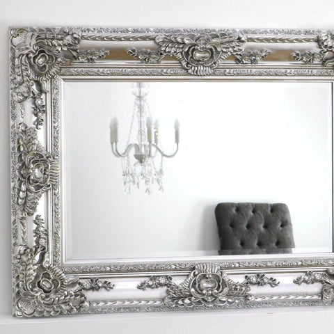 Platinum Silver Ornate Rectangle Mirror