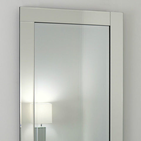 Silver Glass Framed Rectangle Wall Mirror