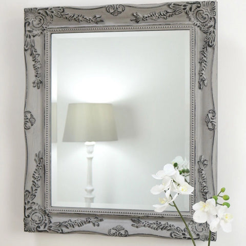 Grey Shabby Chic Rectangle Wall Mirror