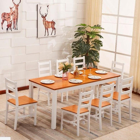 Solid Pine Wood Dining Table & 8 Chairs