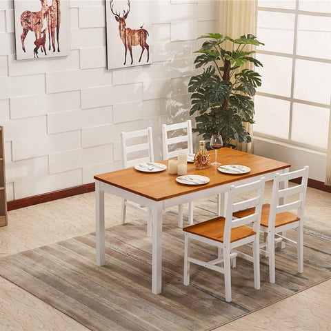 Solid Pine Wood Dining Table & 4 Chairs