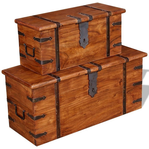Two Solid Wood Chest Trunks