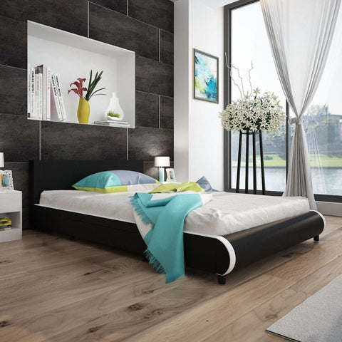 Black Double Leather Bed Frame with 2 Drawers