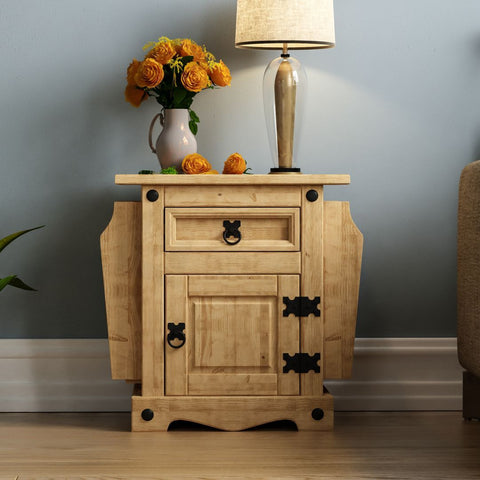 Solid Pine Wood Magazine Side Table