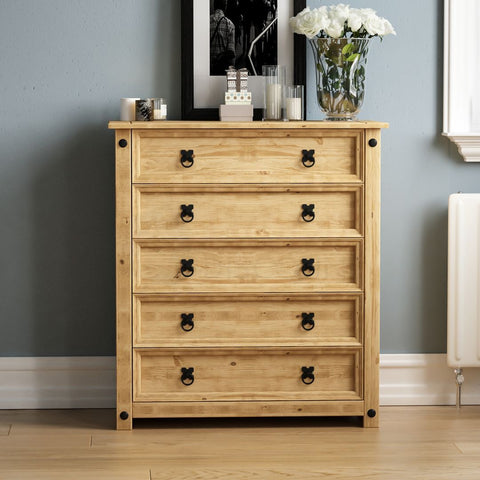 Solid Pine Wood Chest of 5 Drawers
