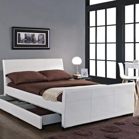 4 Drawer Leather Sleigh Bed Frame - Double/King