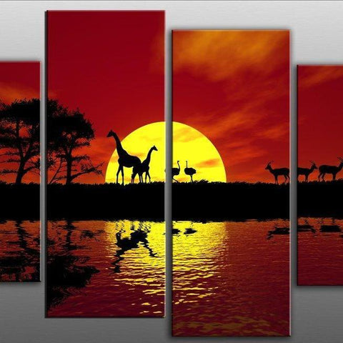 Africa Sunset 4 Part Canvas