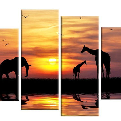 African Sunset 4 Part Canvas