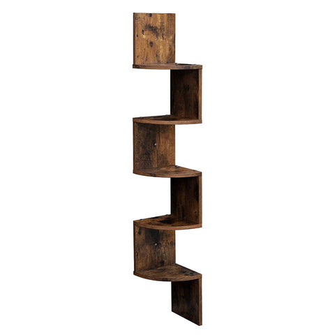 Rustic Brown 5 Tier Snaking Corner Wall Shelves
