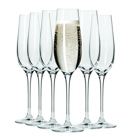 Set of 6 Champagne Flutes - 180ml
