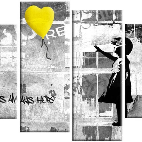 Banksy Yellow Balloon 4 Part Canvas