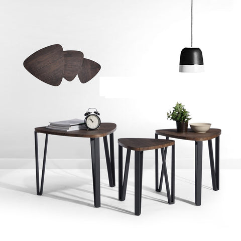 Nest of 3 Dark Brown Wooden Tables