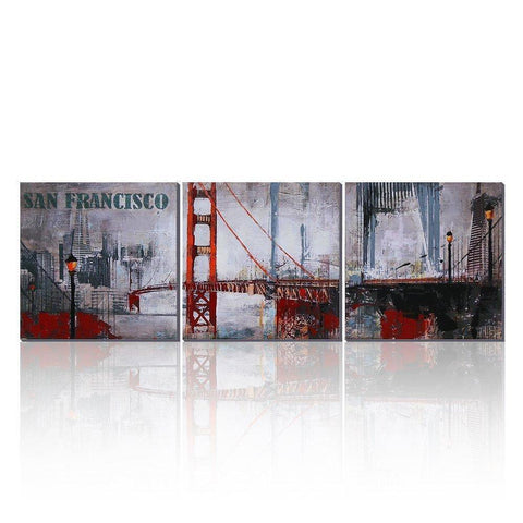 3 Piece San Francisco Oil Painting