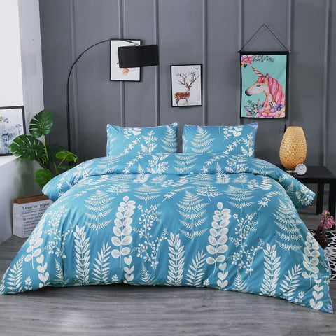 Blue Leaf Duvet Set