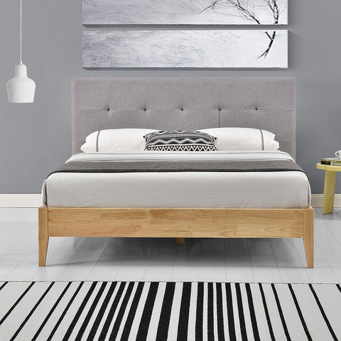 Wooden Bed Frame & Grey Fabric Headboard - Double