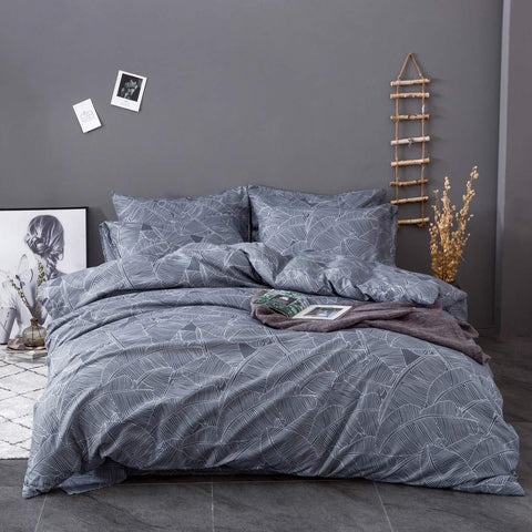 Grey Leaf Duvet Set