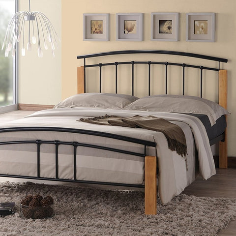 Double Black Bed Frame with Beech Posts