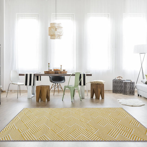 Golden Yellow Lined Patterned Rug
