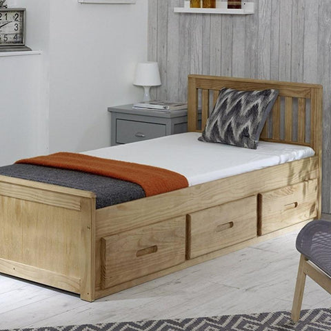 Single Pine Slat Bed Frame with 3 Storage Drawers