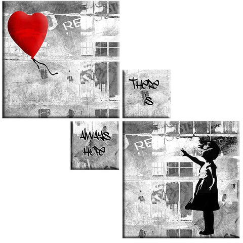 Banksy Girl 4 Panel Canvas