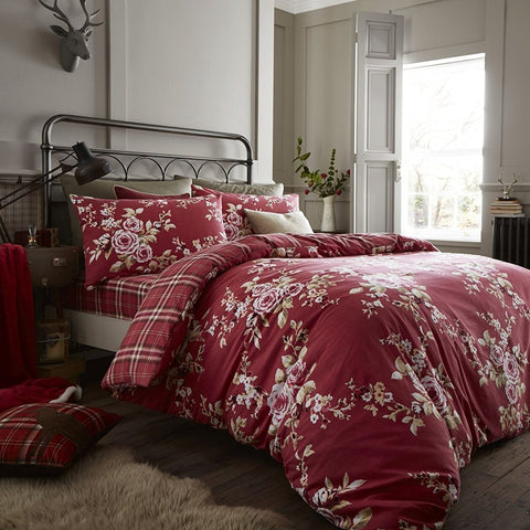 Flower Checked Duvet Set