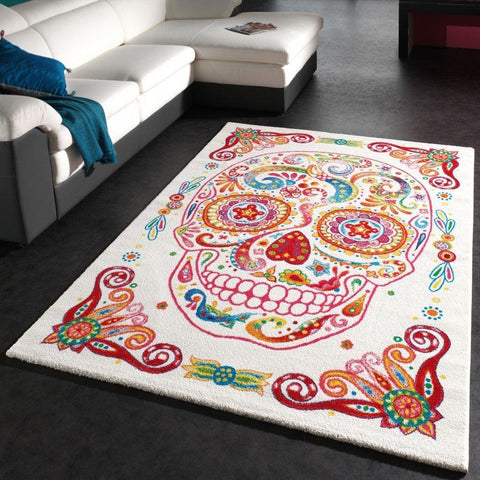 Mexican Tattoo Styled Skull Rug