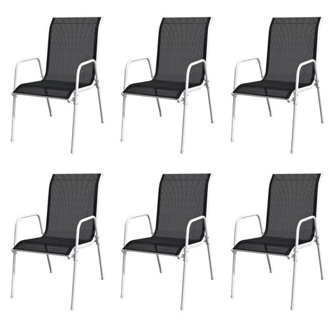 Set of 6 Black Outdoor Dining Chairs
