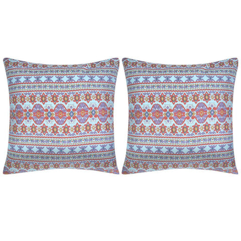 2 Pillow Aztec Printed Canvas Covers 80 x 80 cm