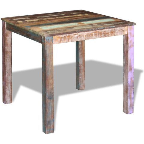 Solid Reclaimed Wooden Dining Table - 80 x 82 x 76 cm