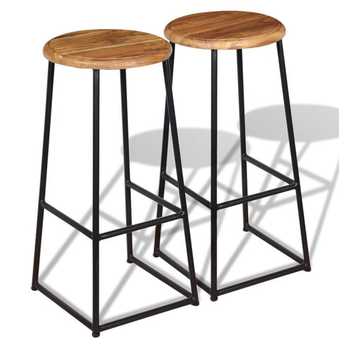 2 Solid Teak Bar Stools