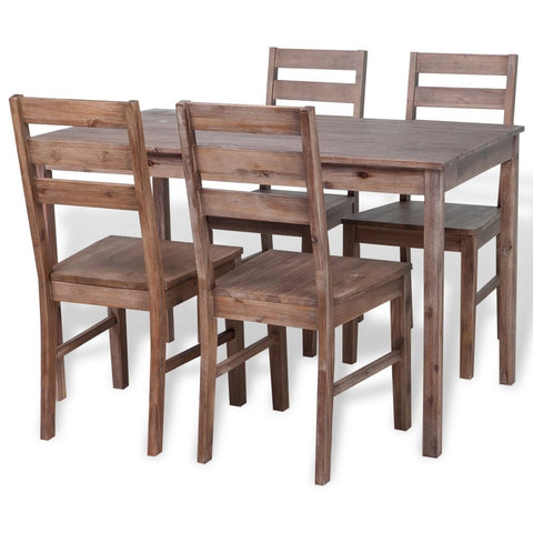 Solid Acacia Wood Five Piece Dining Set
