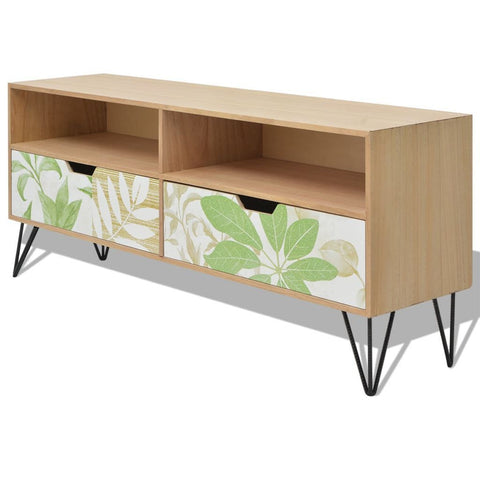 Brown Flowered TV Cabinet