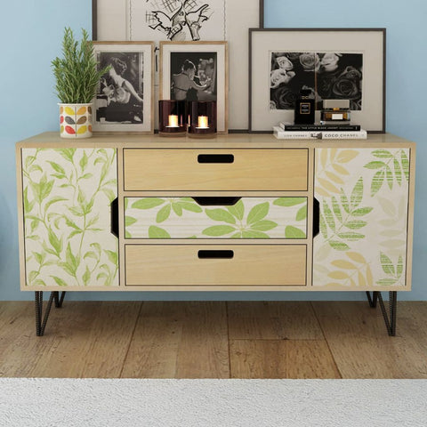 Brown Flowered Sideboard