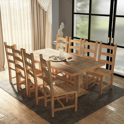 Nine Piece Teak Dining Table and Chair Set