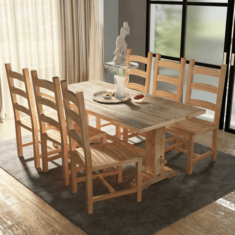 Seven Piece Teak Dining Table and Chair Set