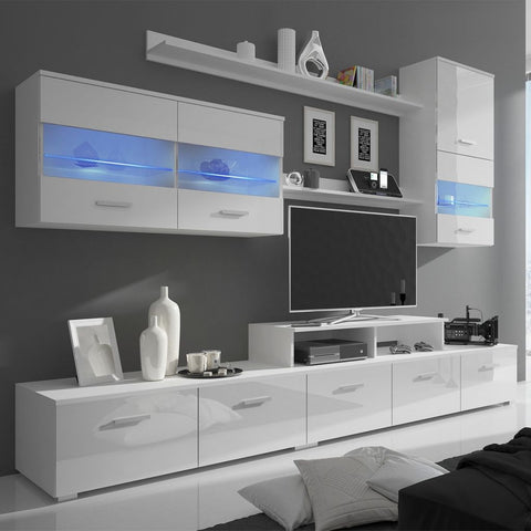 High Gloss White Seven Piece TV Unit with LEDs