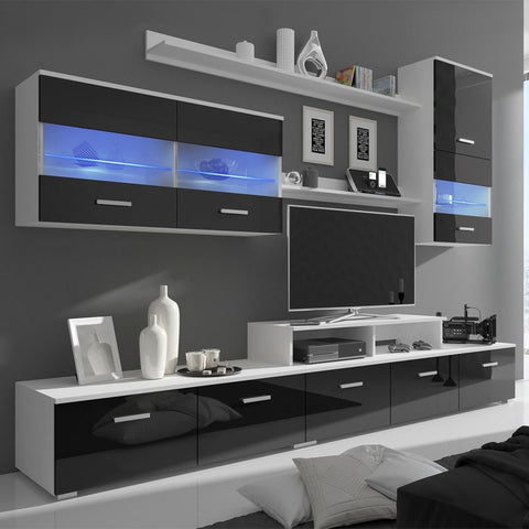 Black High Gloss TV Unit with LED Lighting