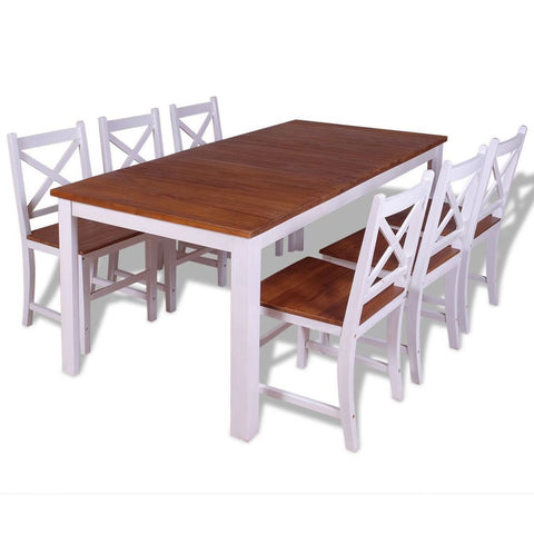 Solid Teak Mahogany Dining Set - 7 Pieces