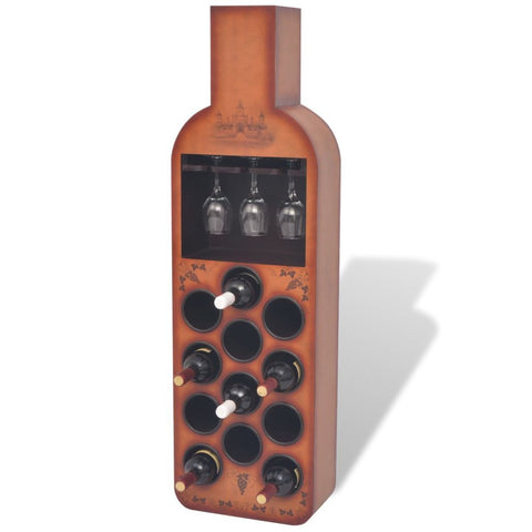 Brown Bottle Shaped Wine Rack - 12 Bottles