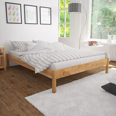 Double Solid Oak Bed Frame