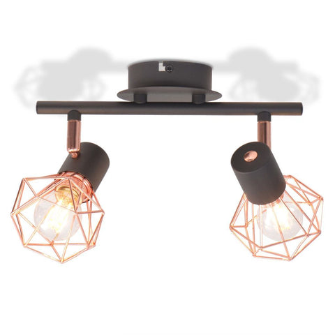 Black & Copper Ceiling Lamp with 2 Spotlights
