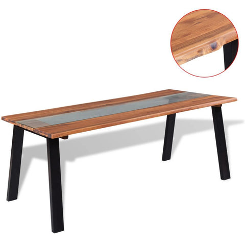 Solid Acacia Wood & Glass Dining Table - 180 x 90 x 75 cm