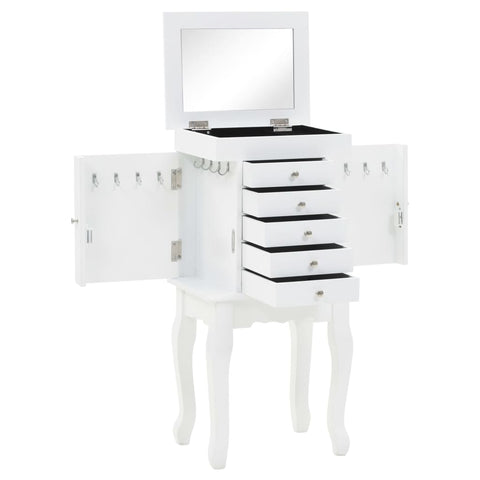 White Free Standing Jewellery Cabinet