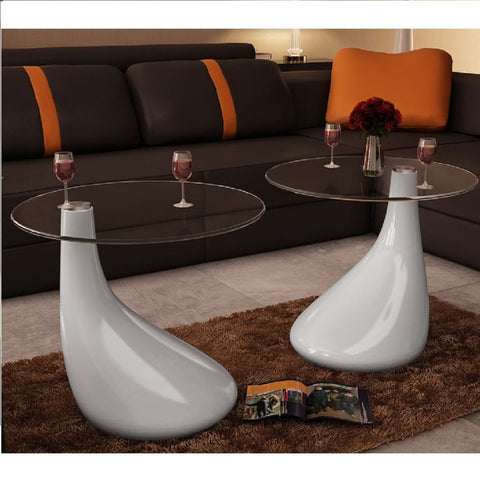 Set of 2 White Drop Coffee Tables