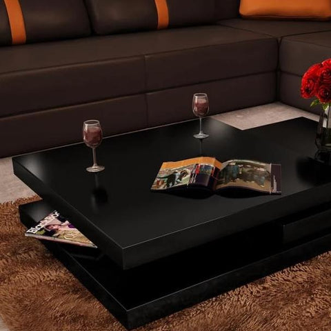 3 Layer Black Coffee Table