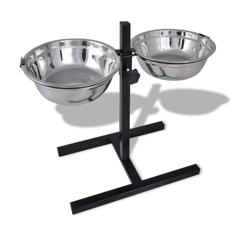 Adjustable Pet Feeding Stand - 2 x 1.6 L Stainless Steel Bowls