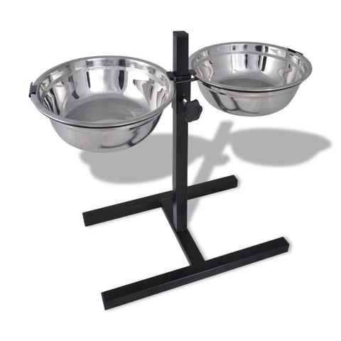 Adjustable Pet Feeding Stand - 2 x 2.6 L Stainless Steel Bowls