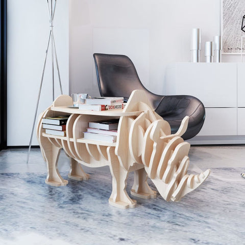 Wooden Rhino Book Organizer & Side Table