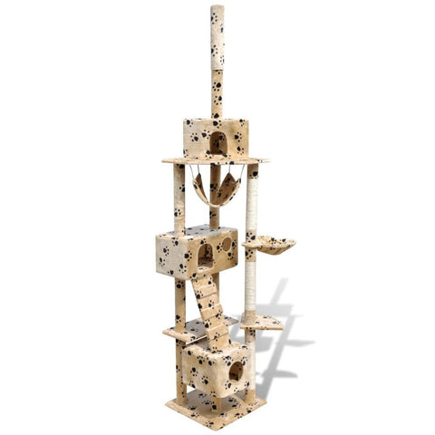 3 Condos Beige with Pawprints Cat Tree Scratching Post