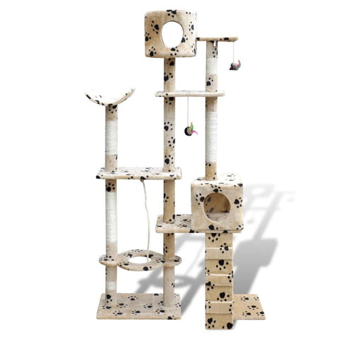 2 Condos Beige with Pawprints Cat Tree Scratching Post - 175 cm